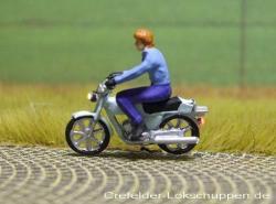 Mokick Fahrer m. Jacke ohne Helm + LED-Licht vorne u. hinten