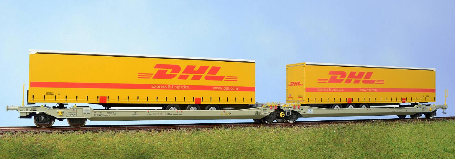 rocky rail h0 90305 doppelcontainertragwagen mit dhl neu ovp. Black Bedroom Furniture Sets. Home Design Ideas
